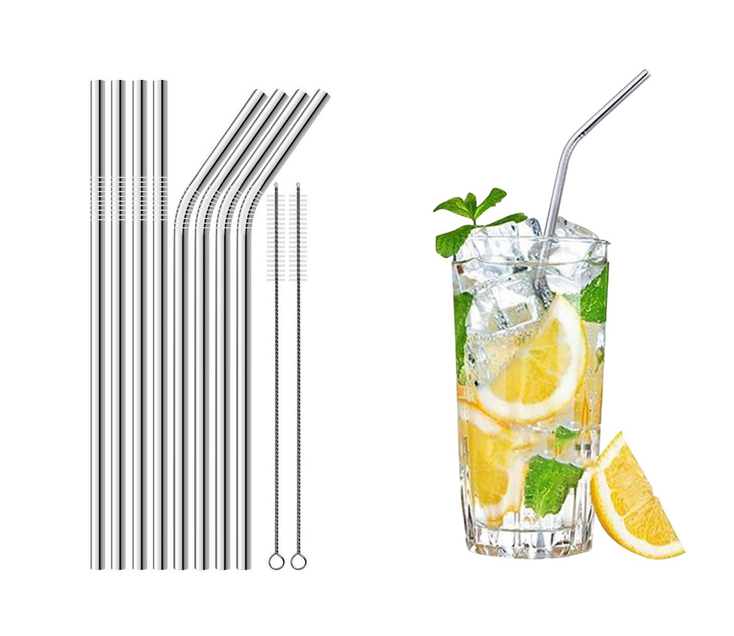 Reusable Metal Straws Set of 8 Stainless Steel Straw Ultra Long 8.5 Inch For Tumblers Cold Beverage (4 Straight|4 Bent|2 Brushes)