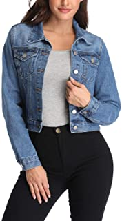andy & natalie Women's Denim Jackets Oversize Long Sleeve Basic Button Down Jean Jacket with Pockets