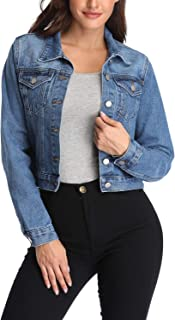 Women's Denim Jean Jackets Casual Collared Long Sleeve Basic Button Down Crop Jean Jacket with Pockets