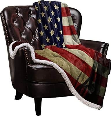 Sherpa Blanket Fleece Throw American Flag with Statue of Liberty 4th of July Reversible Microfiber Blanket Ultra Soft Throw Fuzzy Fluffy Cozy Blanket for Bed Sofa Couch- 34''x49''