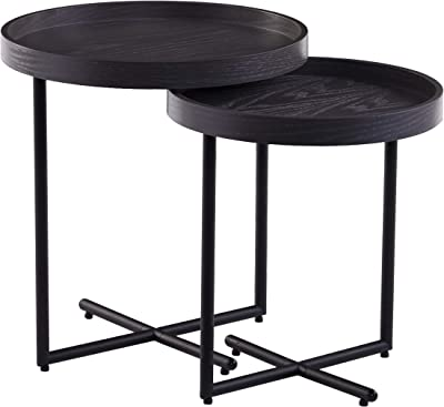 Southern Enterprises Shandon End Table set, Washed gray and black