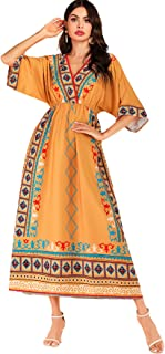 SheIn Women's Tripal Print V Neck Half Sleeve High Waist Maxi Boho Dress