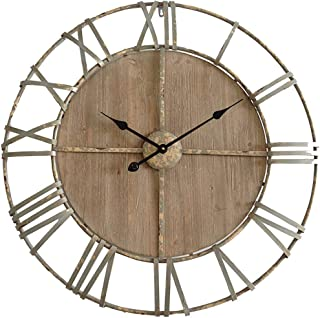 Rebecca Mobili Reloj redondo, marrón, hierro, madera, diseño vintage antiguo, analógico - Medidas diámetro Ø 80 cm x P 6 cm ( AxANxF) - Art. RE4987