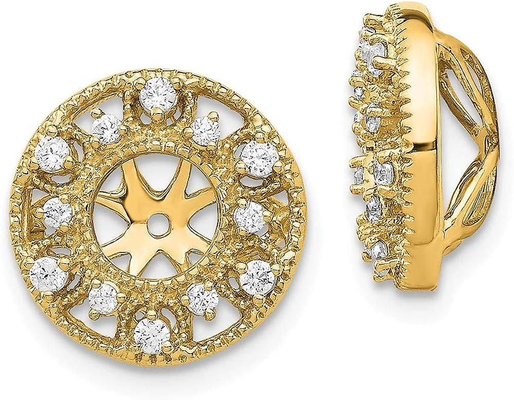 Affluent Rock 14K Yellow Gold Fancy Diamond Earrings Jacket (0.51