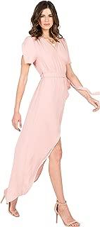 Standards & Practices Modern Women Rose Pink Short Sleeve V-Neck Wrap Maxi Dress