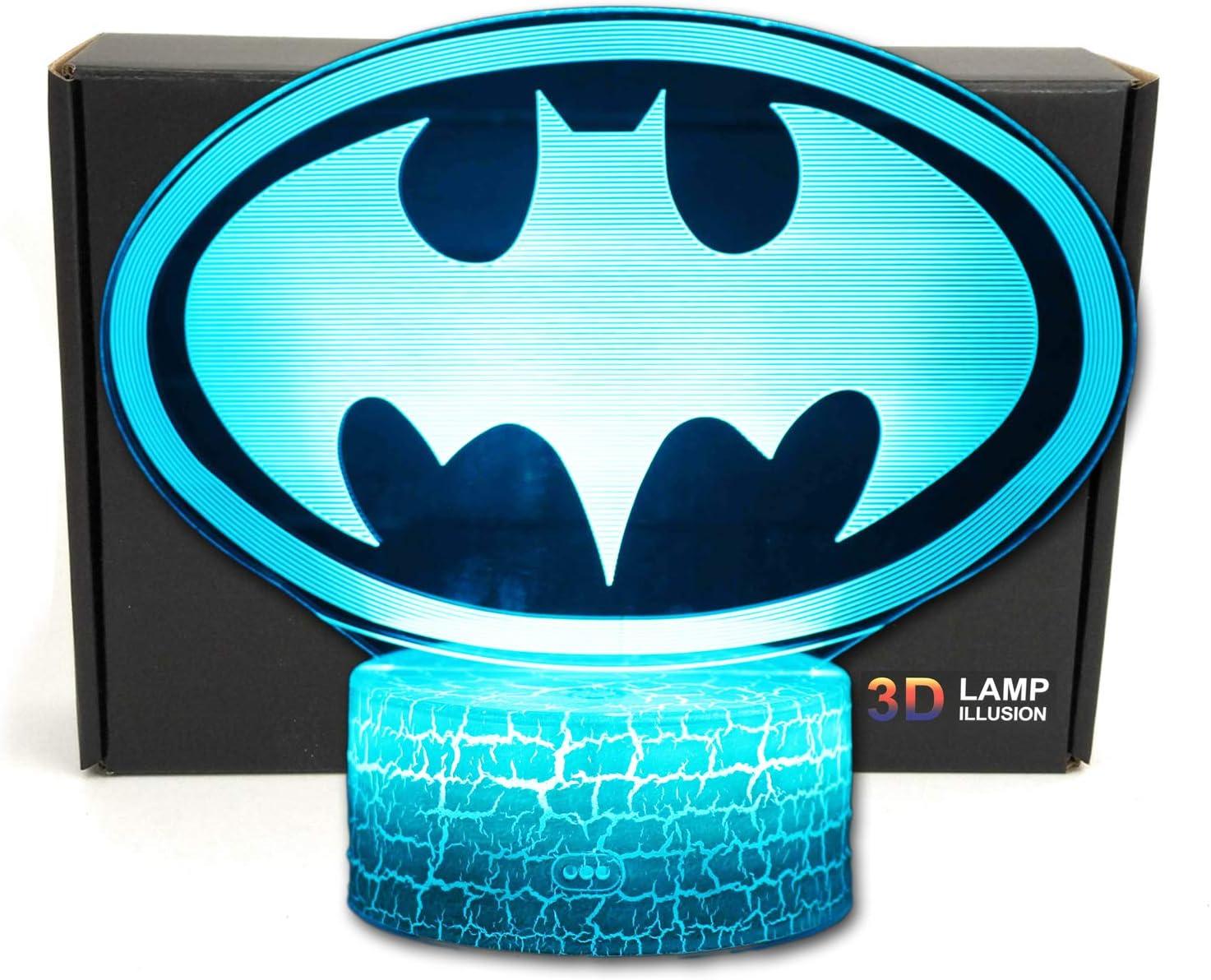 Bat Superhero 3D Illusion Bedroom Night Light Desk Lamp Gift for Batman Fans,Men, Girls, Boys, Teens, Kids, Boyfriends