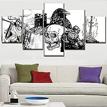 YHEGV Wall Sense Art 5 Panels Print On Canvas Hd Skull And Bird Photographic Art Modern Home Decor Canvas Print Painting-A