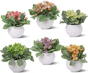 Zuvas Fake Plants 6 Packs Small Artificial Plastic Plants Set Home Decor Mini Potted Faux Flowers and Herb Greenery Leaves for Bathroom Office Table Shelf Decoration
