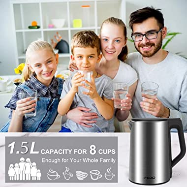 Electric Kettle Stainless Steel, 1.5L Double Wall Stainless Steel Cool Touch Electric Kettle Cordless Water Kettle Auto Shut-