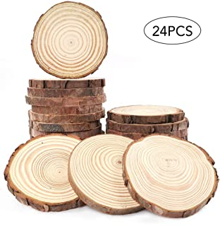 AGEOMET Natural Wood Slices 24pcs 3.5-4 Inches Craft Wood kit for DIY Handmade Arts Crafts Christmas Ornaments Wedding Decoration