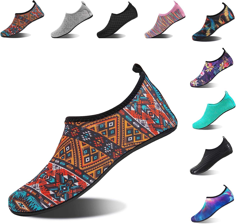 HMIYA Aqua Socks Beach Water shoes Barefoot Yoga Socks Quick-Dry Surf Swim shoes for Women Men (Bohemian-B, 46 47EU)