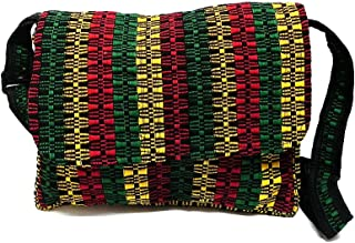 Medium Sized Rasta Woven Striped Pattern Padded Flap Travel Messenger Bag Purse w/Exterior Zipper Pocket & Crossbody Strap