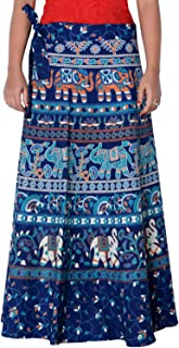 Rajvila Women's Cotton Printed Long 36 Inch Length Regular Wrap Around Skirt Colour (F_W36NT_0004)