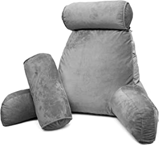 Nestl Reading Pillow, Includes 1 Extra Large Bed Rest Pillow with Arms and Pockets + 2 Detachable Pillows - Premium Shredded Memory Foam TV Pillow, Neck Roll & Lumbar Support Pillow - Set of 3 - Gray