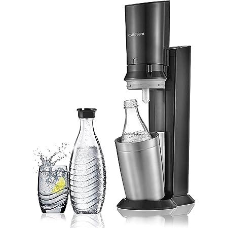 Sodastream Pack Spécial avec Machine à Eau Pétillante et Soda Crystal Noir, 2 Carafes en Verre 0,6 L et 1 Cylindre de CO2 60 L [Exclusif Amazon]