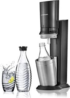Sodastream Pack Spécial avec Machine à Eau Pétillante et Soda Crystal Noir, 2 carafes en Verre 0,6 L et 1 Cylindre de CO2 ...