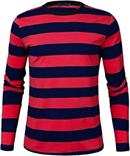 Mens Basic Striped T-Shirt Crew Neck Cotton Vintage Couple Casual Halloween Slim Fit Stripes Top Tees S-XXL
