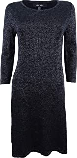 Nine West Women's 3/4 Sleeve Metallic A-line Dress