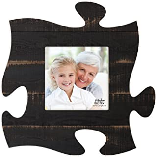 P. Graham Dunn Black Distressed Look 6 x 6 Wood Puzzle Wall Plaque Photo Frame