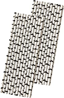 شفاطات شرب ورقية برسومات الشارب - أبيض وأسود - 7.75 بوصة - 50 عبوة - ماركة أوراق خارجية