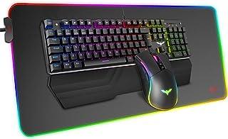 havit 104キー メカニカルキーボード マウスパッド マウス セット 14種類RGBライトモード 取り外し可能なリストレスト付き 有線 ゲーミングキーボード 高耐久 多機能 大型の耐久性良いゲーミングマウスパッド KB511L