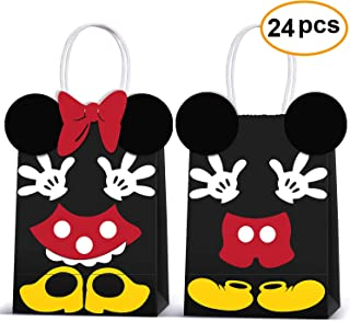 Minnie Mouse Party Supplies Bags -Micky Minnie Paper Treat Candy Gift Bags for Kids Birthday Micky Minnie Party Supplies -24 Piece