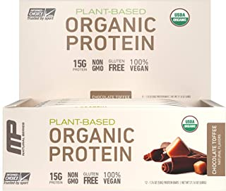 MP Organic Protein Bar, Certified USDA Organic, 15g Plant Based Protein, No Artificial Ingredients, Gluten Free, Non GMO, ...