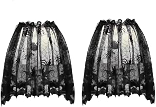 Orgrimmar 2 PCS Halloween Spider Web Lamp Shades Topper Lace Cobweb Window Door Fireplace Mantle Scarf Cover with 2 PCS Ri...