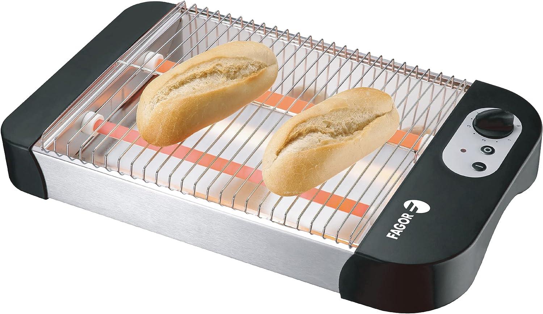 FAGOR - Tostador plano QuickToast 600W de potencia. Doble resistencia y 6 posiciones de tostado. Indicador de encendido y piloto luminoso. Sirve para todo tipo de pan.
