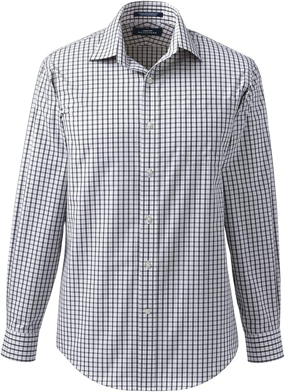 Lands' End Men's Long Sleeve Straight Collar Patterned Broadcloth Shirt
