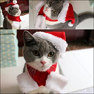 PETLESO Cat Christmas Hat with Muffler Puppy Dog Santa Hat, Red -S
