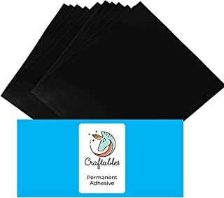 "Craftables Matte Black Vinyl Sheets - Permanent, Adhesive, Matte & Waterproof | (10) 12"" x 12"" Sheets- for Crafts, Cricut,..."
