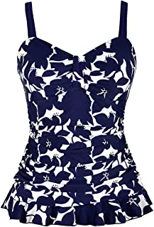 Hilor Women's 50's Retro Ruched Tankini Swimsuit Top with Ruffle Hem