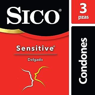 Condón de Látex, Sico Sensitive Delgado, Color Natural, Cartera con 3 Piezas