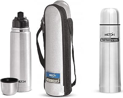 Milton Thermosteel Flip Lid + Plain Lid Flask Combo, 1 Litre, Silver