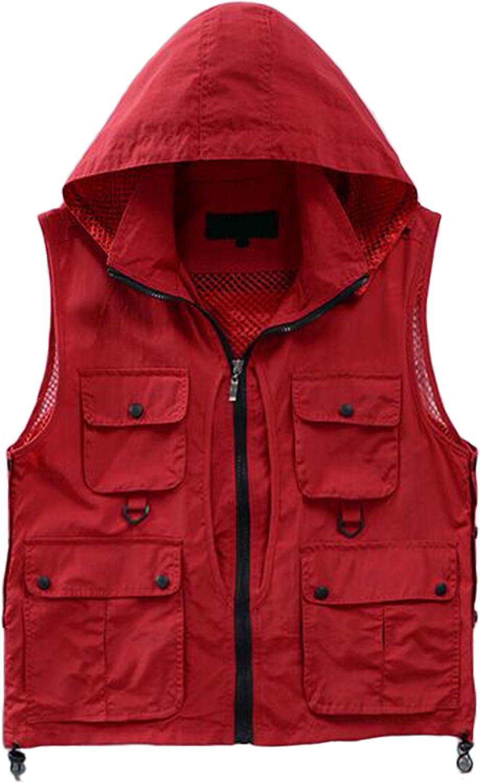 AsPon Men's Outdoor Casual Multi-Pocket Mesh Photography Pockets Fish Vest