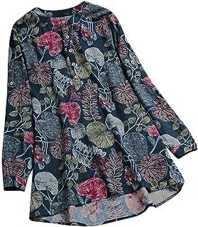 TIFIY T-Shirt da Donna a Manica Lunga da Donna a Maniche Lunghe con Stampa O-Collo per Donna Elegante Sexy Casual Tops Blu...