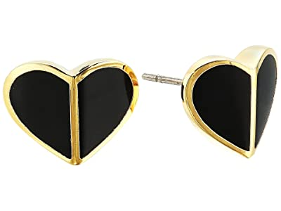 Kate Spade New York Heritage Spade Small Heart Studs Earrings (Black) Earring