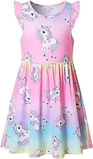 فساتين الفتيات يونيكورن ملابس الصيف فلاتر كم للأطفال