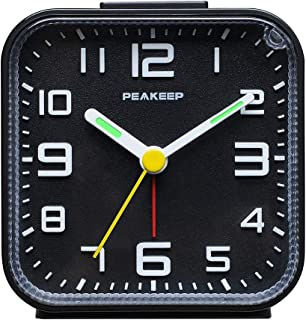 Peakeep 3D Numbers No Tick-Tock Analog Alarm Clock with Classic Beep Sound, Snooze, Manual Light and Battery Powered Small for Travel (Black-3D)