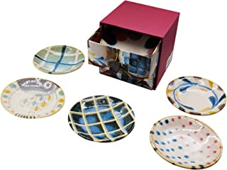 Ceramic Appetizer Plates Assorted Sauce Plates Set of 6 Small Plates Set Porcelain Dinnerware Dessert/Salad/Snack/Sushi/Fruit/Bread Plates 3.14inch x 0.59inch set with Gift Box Made in Japan