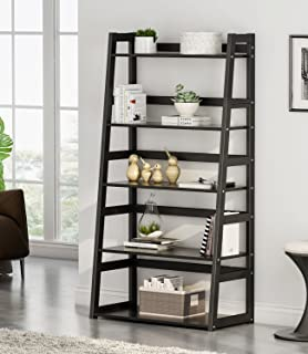 Tribesigns 5-Tier Ladder Shelf, 5 Shelf Modern Bookshelf and Bookcase Freestanding Leaning Shelf for Living Room Home Office (Black)