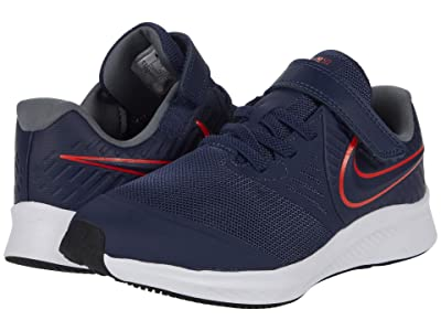 Nike Kids Star Runner 2 (Little Kid) (Midnight Navy/Bright Crimson/Smoke Grey) Kids Shoes