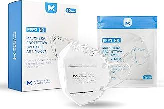 10 FFP3 Mund- und Nasenschutz Maske mit EC Zertifizierung, 5 lagige Maske ohne Ventil, Staub- und Partikelschutzmaske, med...