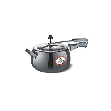 Bajaj Majesty PCX 65HD, 5 LTR, Aluminium Handi Pressure Cooker with Induction Base (Black, ISI Certified)