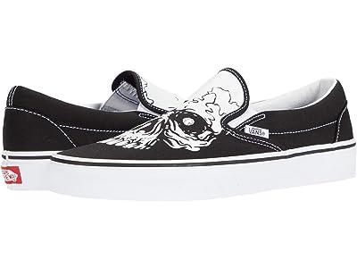 Vans Classic Slip-On ((TM Glow Skulls) Black/White) Skate Shoes