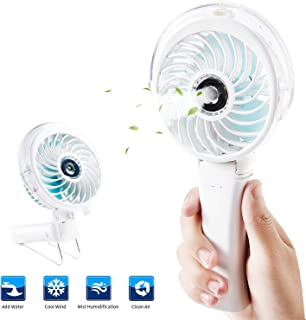 Handheld Misting Fan,Portable Fan Facial Steamer,Rechargeable Battery Operated Fan,Foldable Travel Fan,Personal Fan Cooling Humidifier with Colorful Night Light for Travel