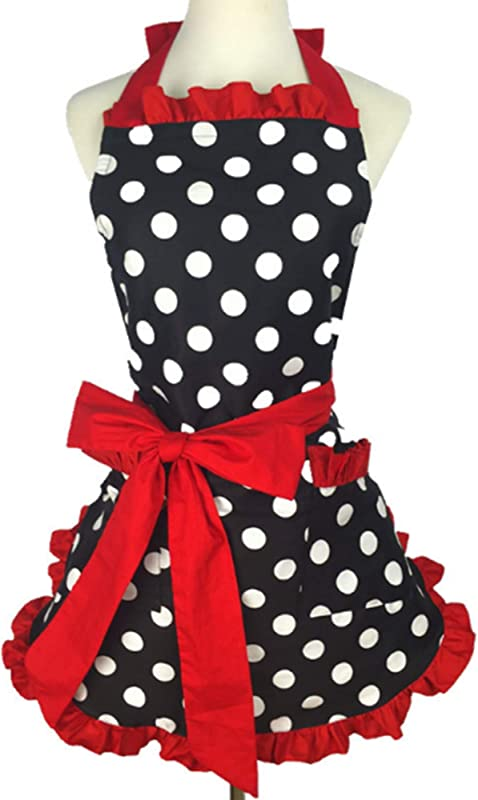 NOMSOCR Lovely Sweetheart Retro Kitchen Aprons Woman Girl Cotton Polka Dot Cooking Salon Pinafore Vintage Apron Christmas Dress Red