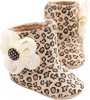 Baby Girl Soft Sole Leopard Print Flower Keep Warm Socks Shoes Snow Boots