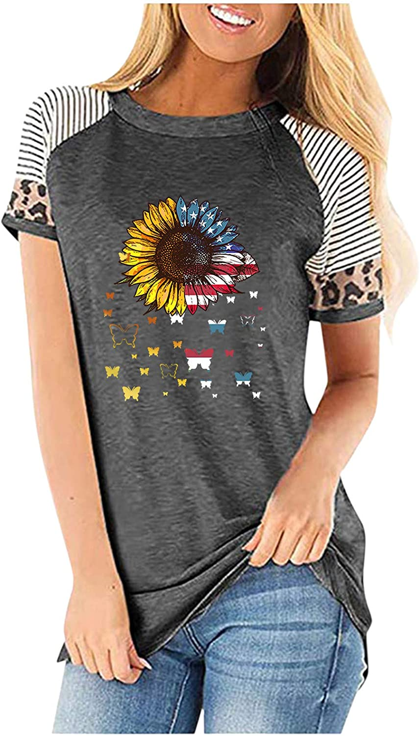 shaozheny Womens Loose T-Shirts Cute Leopard Printing Casual Short Sleeves Blouses Tops Flower Graphic Tunic Tees
